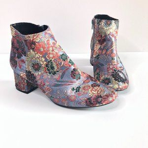 QUPID BLUE FLORAL BROCADE ANKLE BOOTS BOOTIES 8.5